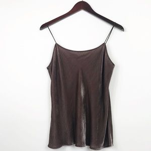 Vince Womens Size Small Camisole Brown Velvet Silk